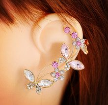 New crystal rhinestone Insect butterfly rose ear cuff clip earring Top quality fashion jewelry gift for women girl E2484(China (Mainland))