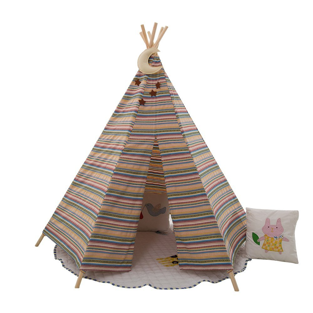 hot sale Dream game House Classic Solid White six Poles Indian Teepee Tent for Kids Great Gift ...
