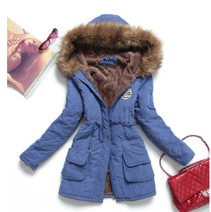 new winter 2015  thickening hooded jacket coat women  warm collars  slim cotton coat women leisure plus size long coat  AE214