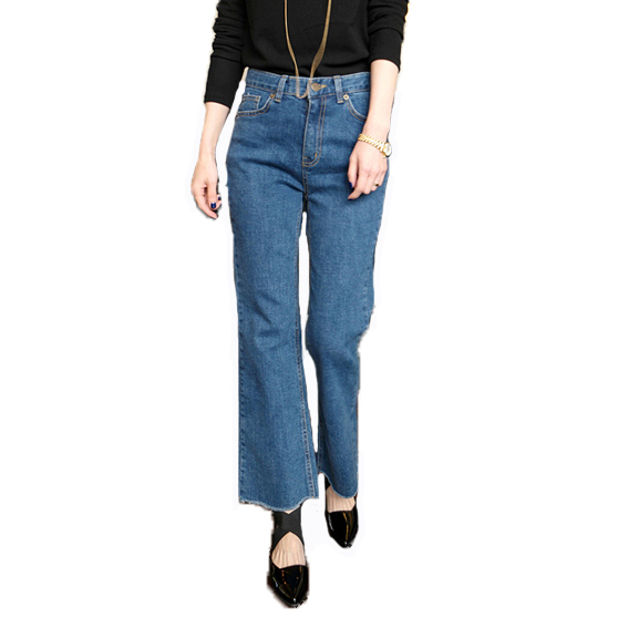 Women flare pants fashion vintage edging high waist  jeans loose style casual brand jean Trousers denim pants Одежда и ак�е��уары<br><br><br>Aliexpress