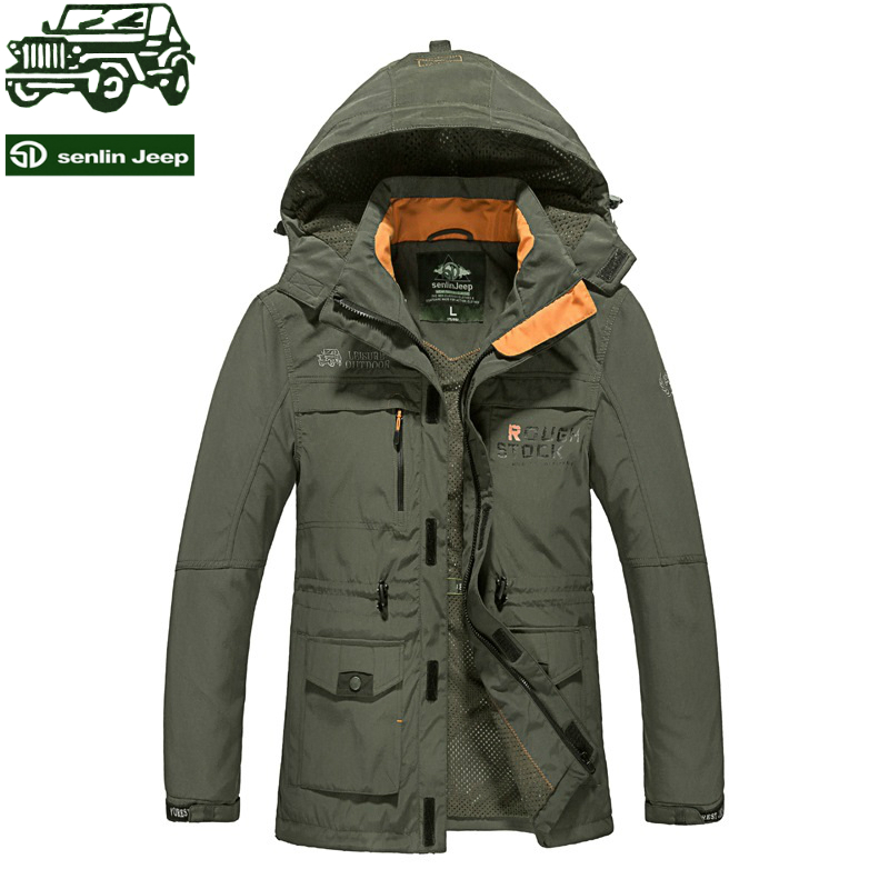 Senlin Jeep Brand Newest Design Men's Outdoor Windbreaker Jacket Softshell Waterproof Pizex Tactical Detachable Hooded Male Coat(China (Mainland))