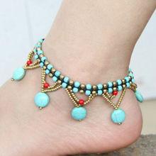 Тайский этнические украшения оптовая бирюзовые бусы, плетеные медный колокол ножной браслет браслет ног(China (Mainland))