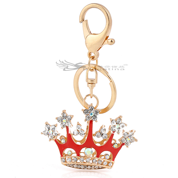 Free shipping!!!Wholesale fashion red hat/cap key chain,Top quality crown keyhains for women KY5160-1(China (Mainland))