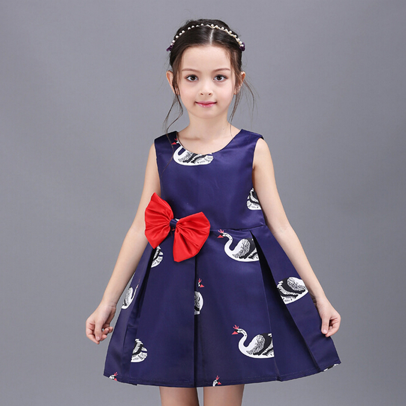 Summer Style 2016 New Girl Dress Baby Clothing Swan Print Kids Clothes Vestido Infantil Kids Dresses For Girls(China (Mainland))