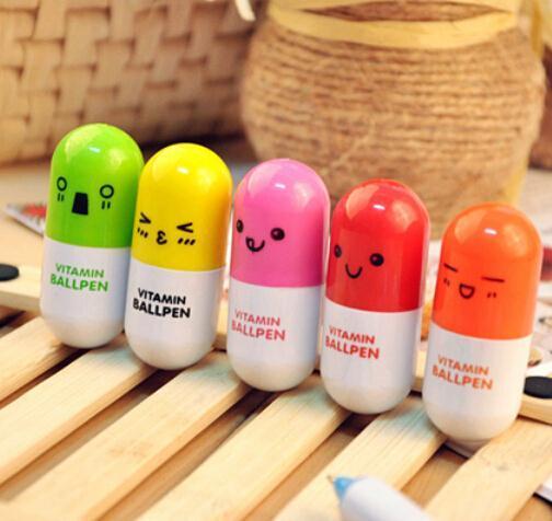 2 pcs/lot DIY Cute Kawaii Cartoon Pill Ballpoint Pen Telescopic Ball pen for kids Novelty Korean Stationery Free shipping 422<br><br>Aliexpress