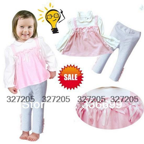 2015 new baby kids clothes set girls brand sport suits long sleeve shirt pant clothing sets for spring autumn baby wear s132(China (Mainland))