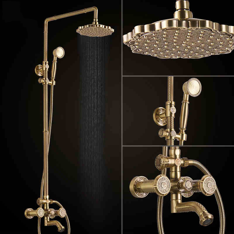 Deluxe Carving Retro Style Solid Brass Bathroom Shower Set Faucet Wall Mounted Dual Handle