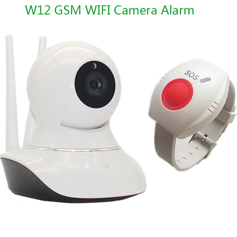 720H IP Camera Alarm WIFI GSM Alarm System For Home Burglar Security Wireless On Site Video SMS Camera With SOS Panic Button W12(China (Mainland))