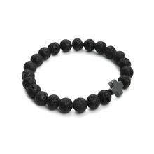 2016 New 8mm Natural Lava Stone Beaded Bracelet Men Hematite Gallstone Cross Bracelets Pulseras Hombre Yoga Jewelry F3761(China (Mainland))