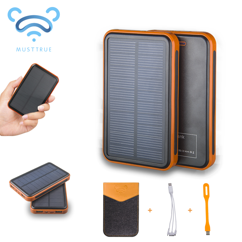 MUSTTRUE Super Solar Charger waterproof powerbank ,backup Power Bank bateria external Portable For all Cellphone mobile phone(China (Mainland))