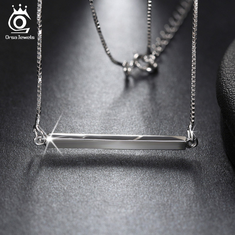 925 Sterling Silver Bar Pendant Necklaces for Men/Women 2016 Genuine Sliver Jewelry Lover's Gift SN09(China (Mainland))