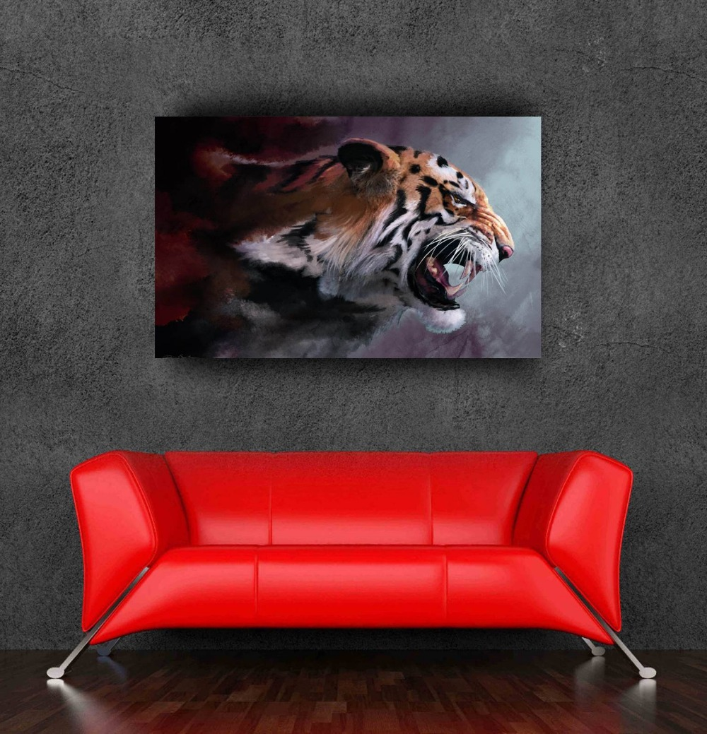 Rere new animal Tiger wall art painting on canvas frameless pictures for home decoration wall art canvas no frame(China (Mainland))