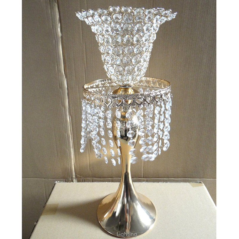 4PCS/LOT Metal Chrome Plated Candle Holders With Crystals 52CM/21'' Road Lead Stand Pillar Candlestick For Wedding Candelabra(China (Mainland))