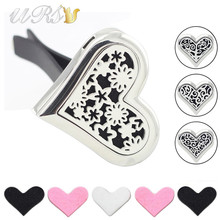 Buy large sharp heart aromatherapy essential oil car diffuser locket free pads magnet 316L stainless steel car aroma locket car clip for $5.80 in AliExpress store