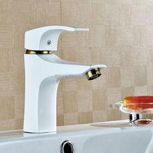 Ванная комната кухонная раковина медь на бортике позолоченные один уровень белой краской горячей и холодной смесители W3019