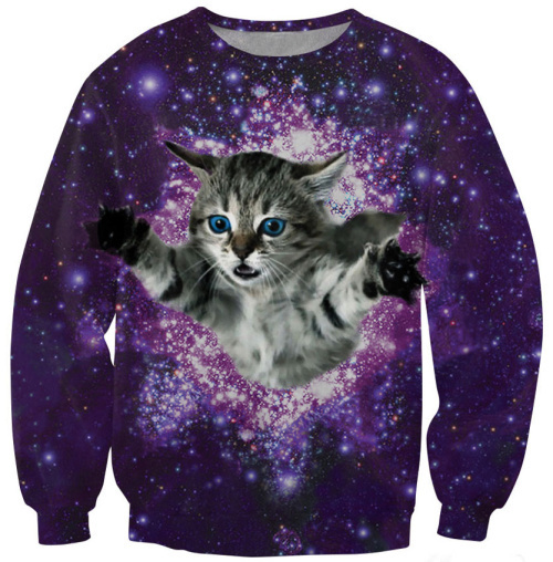 Cat in space purple sky women hoody Fashion Winter Sweatshirt Casual Sports Costumes women pullovers lovely(China (Mainland))