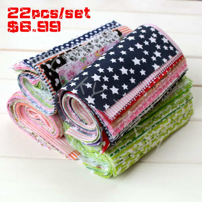 22pcs/set 100% Cotton Patchwork Fabric for DIY Sewing Quilting Tissue Kids Bedding Textiles Cloth mix colour Fabric 17x25cm