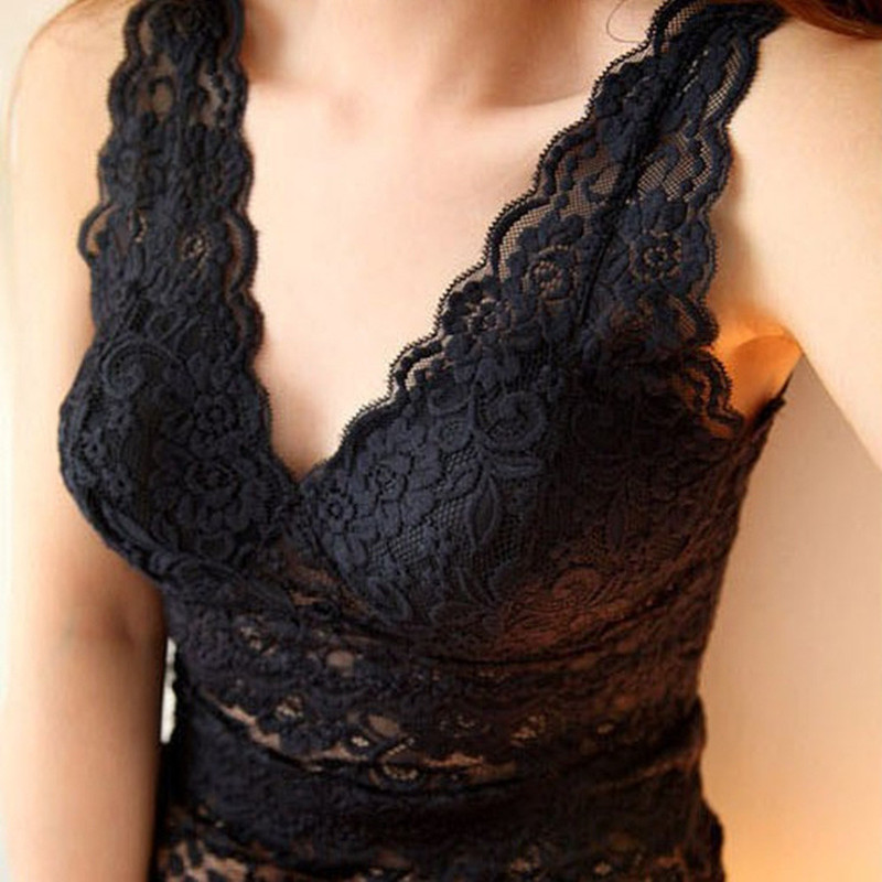 Women sexy lace tank top vest deep V-neck corset camisole low-cut basic tank tops(China (Mainland))