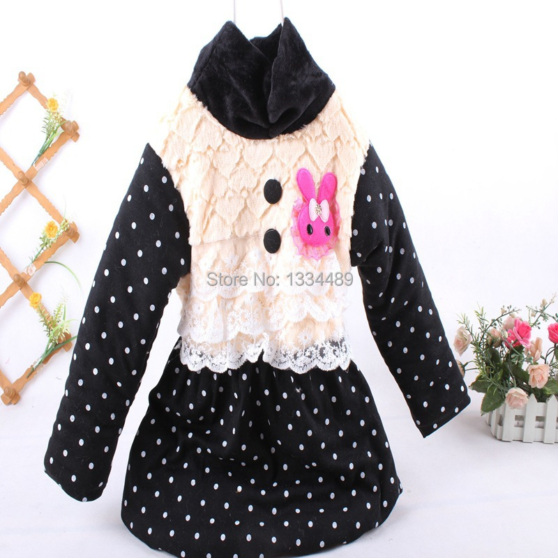 2015 new fashion baby girls thick warm spring/winter dresses children's the lace design clothing kids clothes long sleeve dress(China (Mainland))
