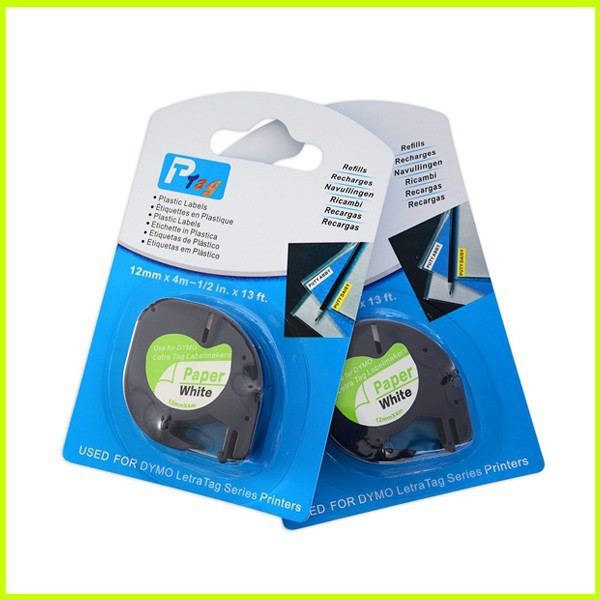 10PK 100% compatible Dymo LetraTag Tape 91200 12MM x 4M-1/2inch x13ft. used for DYMO labelmaker