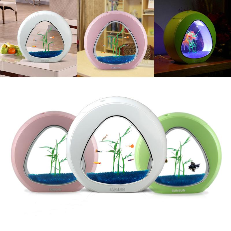 new arrival desktop usb aquarium led light filter system oxygen mini ecological fish tank betta box(China (Mainland))