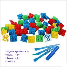 52/pcs English alphabet Digital Color Play Dough Model Tool Toys Creative DIY Plasticine Tools Playdough Set Free Shipping(China (Mainland))