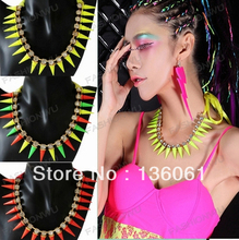 Fashion Vintage Gold Candy Fluorescent  Colorful Cone type Inlay Rhinestone Necklace Pendants Jewelry  For Women 10PCS  P925(China (Mainland))