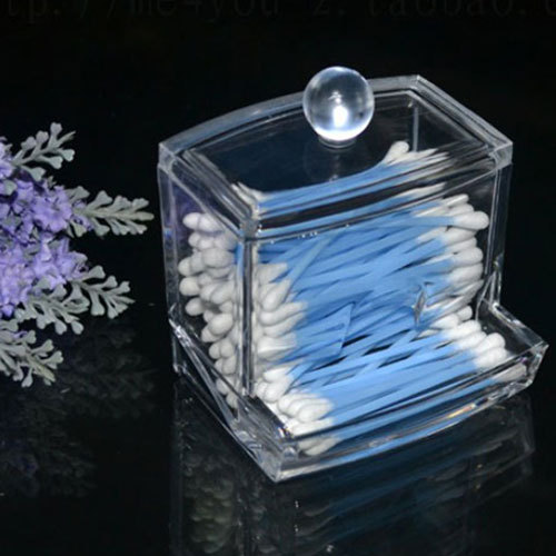 Storage Box Clear Acrylic Q-tip Holder Box Cotton Swabs Stick Storage Cosmetic Makeup Case #47335(China (Mainland))