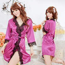 Babydoll Sex Products sexy lingerie women Selling Lace Shiny Smooth Multicolored Robe Noble Sexy Underwear Women C1061