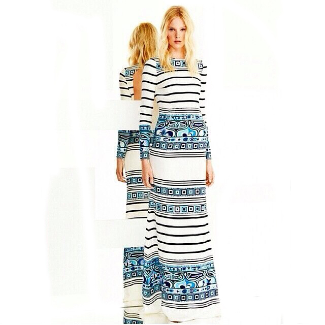 Europe Top Fashion Women's High Quality Long Sleeve Sky Blue Geometric Striped Printed Maxi Long Jersey Silk Drss(China (Mainland))