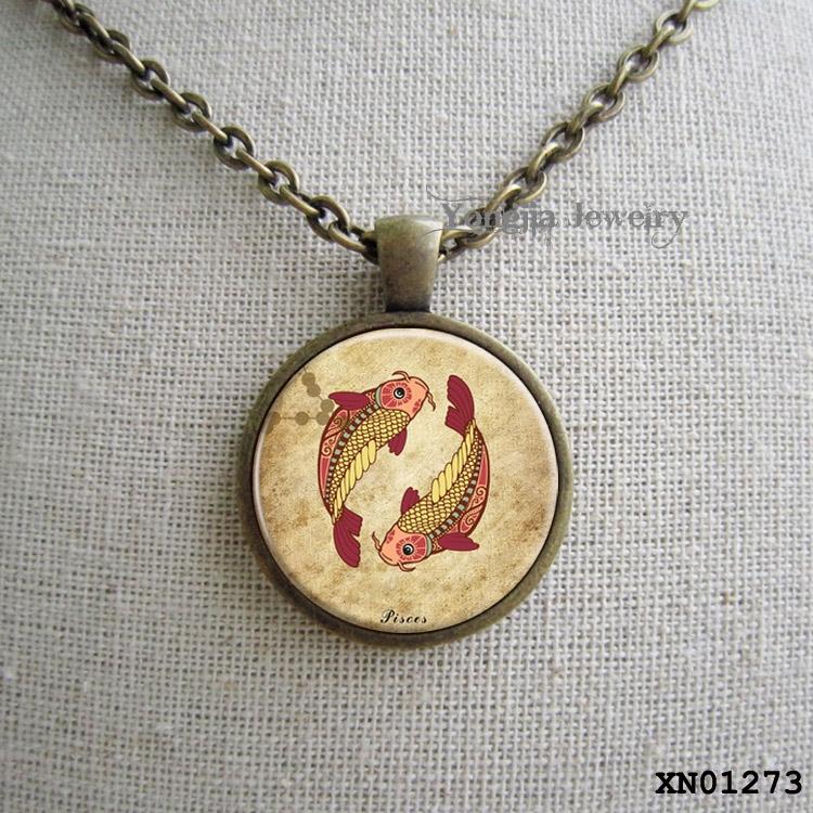 PIsces Necklace, Zodiac Jewelry, Pisces Charm, Astrology Pendant,glass art pendant<br><br>Aliexpress