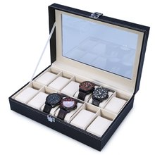 2016 Luxury 12 Grid Leather Watch Box Jewelry Display Collection Storage Case Watch Organizer Box Holder Discount Promotion