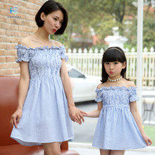 Mother daughter dresses summer dress Falbala and dress with short sleeves Woman Dress mother daughter matching clothes 20#