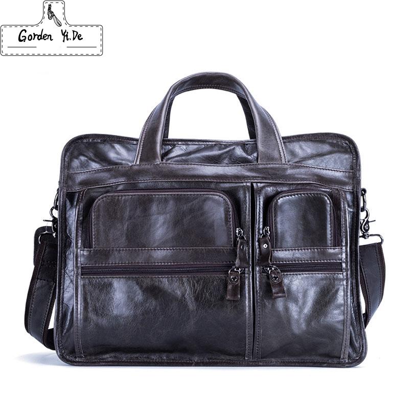 GYD Genuine Leather bag Business Men bags Laptop Tote Briefcases Crossbody bags Shoulder Handbag Men's Messenger Bag PT0502(China (Mainland))