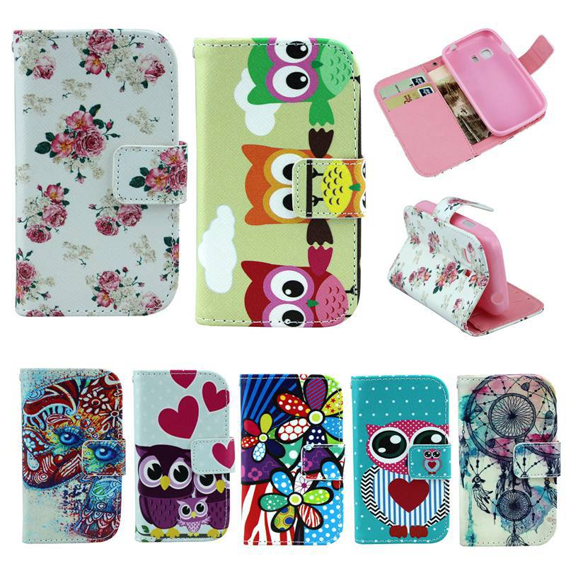 Cartoon Owls Flowers Wallet Leather Case Samsung Galaxy Young 2 Young2 G130 Credit Card Holder Back Stand TPU cover - REDSTORE INT'L TRADING CO LTD store