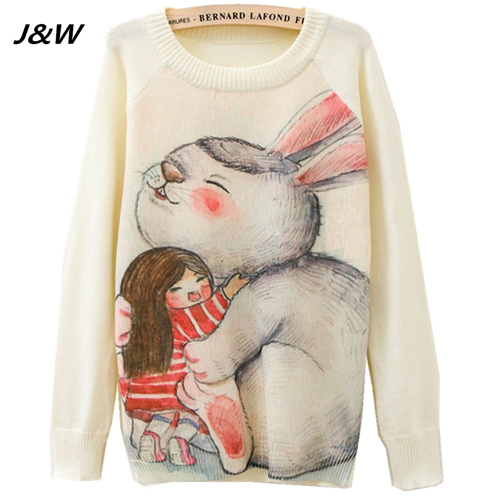 2017 Christmas Women Sweater Winter Cute Rabbite Printing Women Sweater Long Sleeve Lady Sweaters Female Tops(China (Mainland))