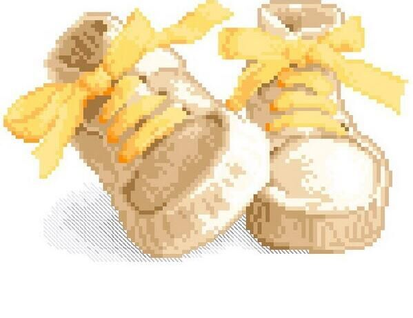 shoes with yellow lace, Counted Cross Stitch 14CT Cross Stitch Sets Wholesale cartoon Cross-stitch Kits Embroidery Needlework(China (Mainland))
