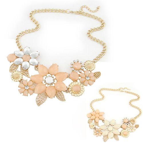 wholesale Fashion Elegant Women Pink Flower gold necklace Jewelry Choker Bib Statement Collar Chain Pendant Necklace(China (Mainland))