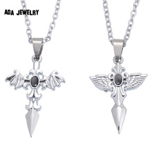 Buy 2015 New Angel Cross Necklaces Pendants Lovers Vintage Stainless Chain Best Friends Couple Necklace Men Women Jewelry for $2.62 in AliExpress store