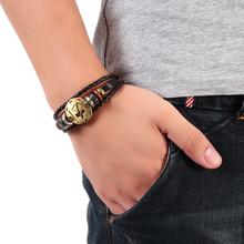 Zodiac Signs Bracelet Punk Leather Bracelet Wooden Bead