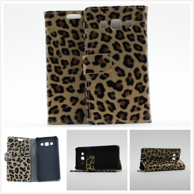 Fashion Leopard High Quality Leather Wallet with Stand Holder Card Slot Flip Case For samsung Galaxy Alpha A3 A300 A3000 A3009(China (Mainland))