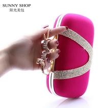SUNNY SHOP 2016 New Fashion Snake Knucklebox Cluthes Evening Bag Crystal Diamonds Party Bag High Quality Wedding bag