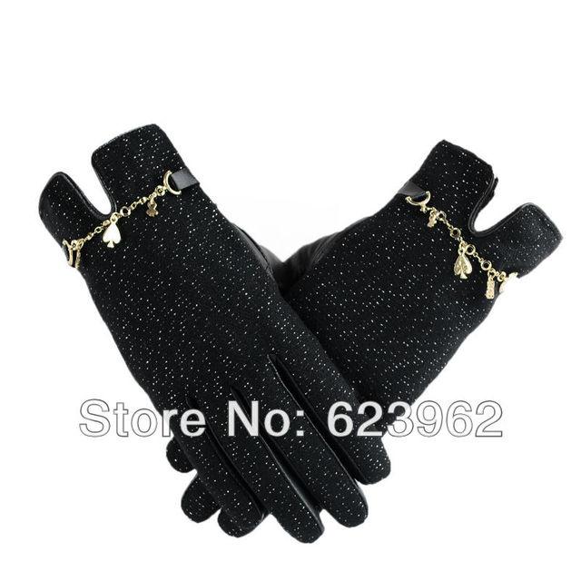 Good quality new fashion leather gloves winter female models M  L XL