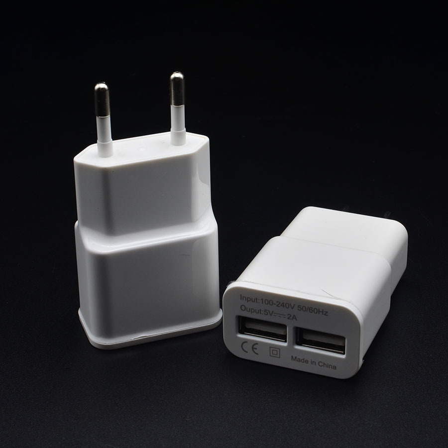 5V 2A EU 2 USB Adapter Mobile Phone Wall Charger Device Micro Data Charging For iPhone 4 5 6 iPad Samsung Xiaomi LG Wholesale(China (Mainland))