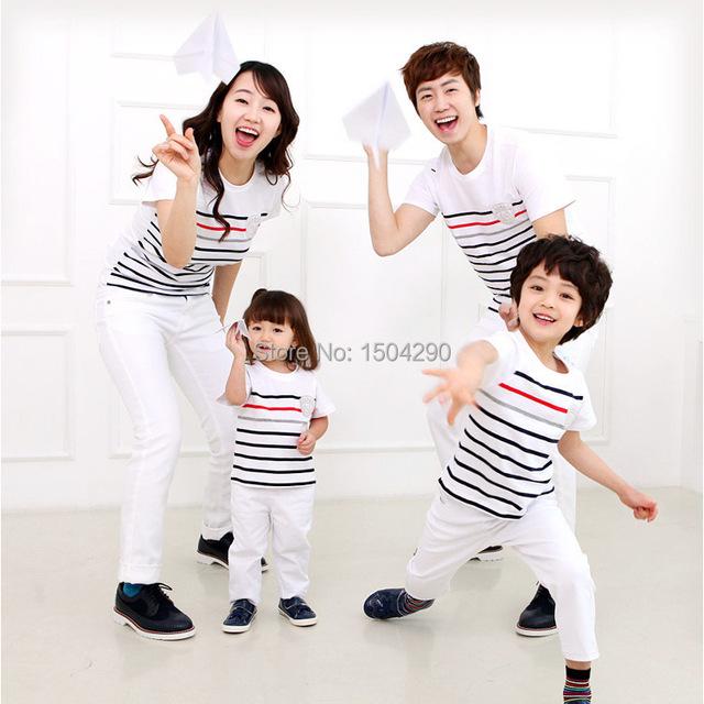 2015 летняя одежда семья мама / папа / детская одежда полосатый семья соответствующие ...