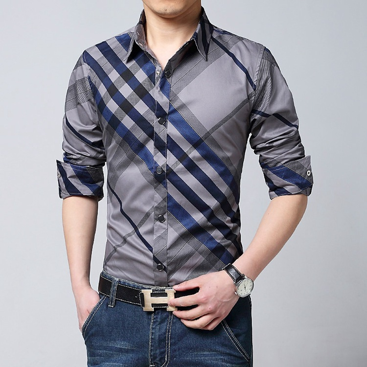 Popular blue check shirt buy cheap blue check shirt lots for Blue check dress shirt