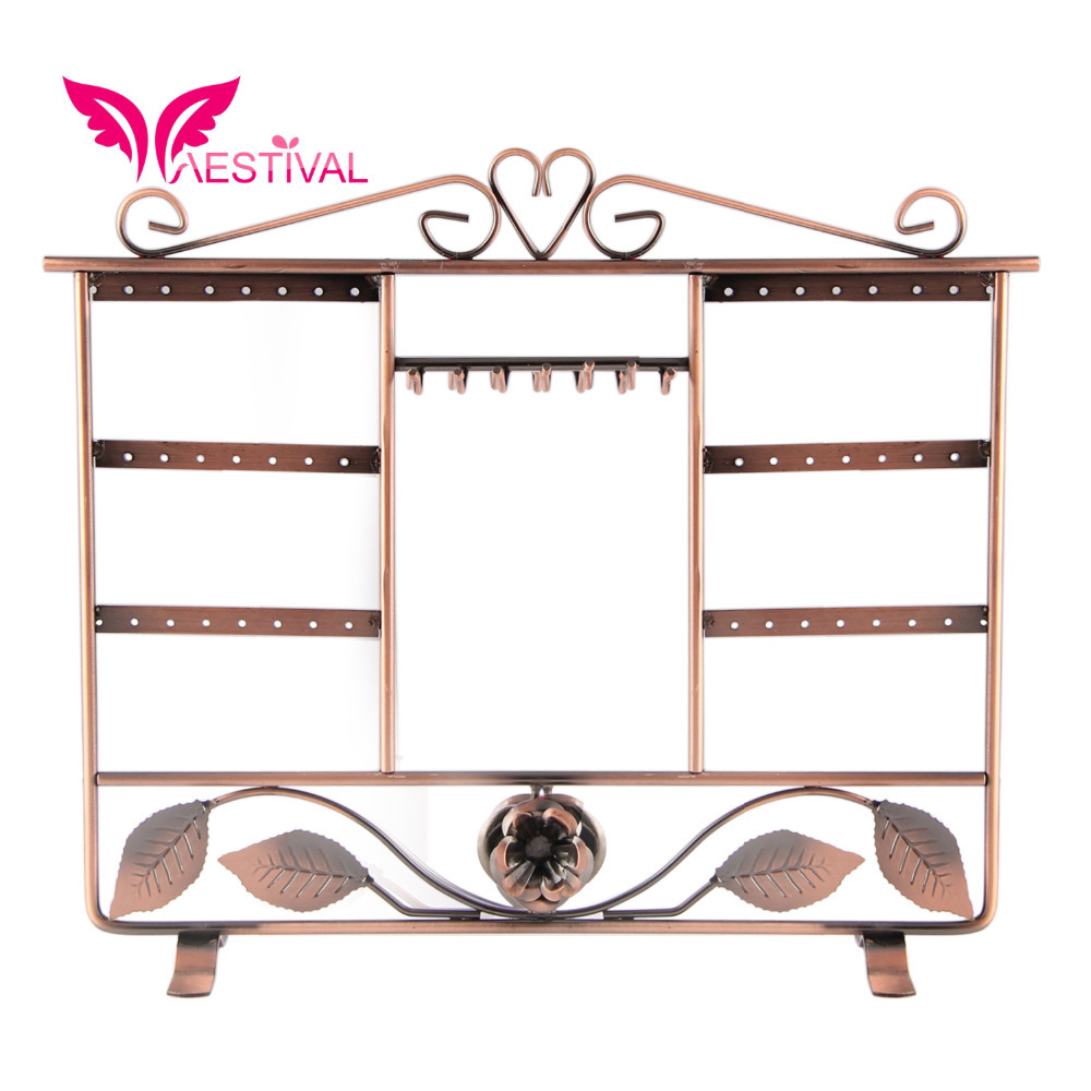 2015 New Arrival,Bronze Tone Metal Jewelry Stand Earring Necklace Bracelet Holder Organizer(China (Mainland))