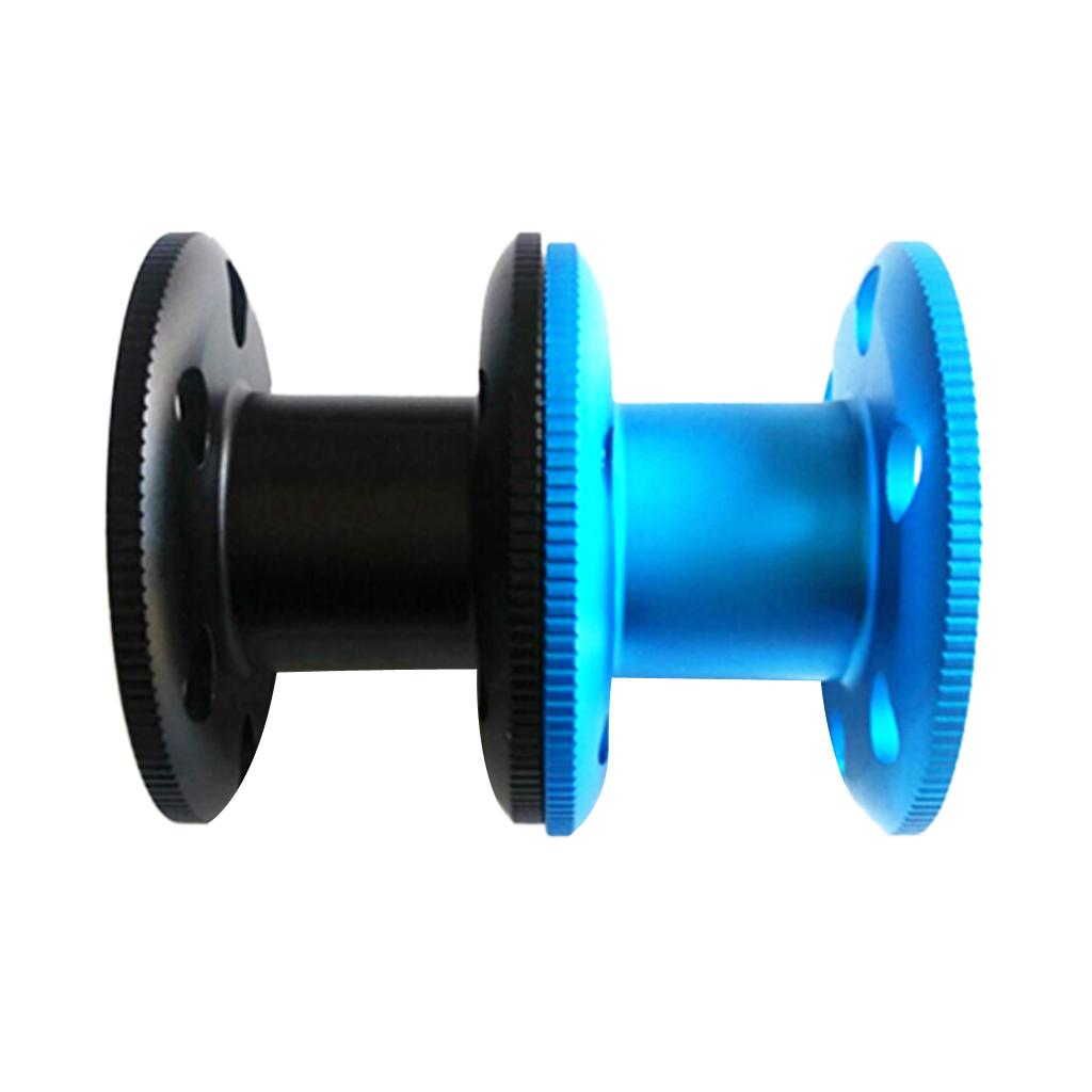 Perfeclan 2pcs Durable Aluminum Alloy Scuba Diving Finger Spool Dive Reel for Cave Dive Underwater Fishing EquipmentBlack & Blue