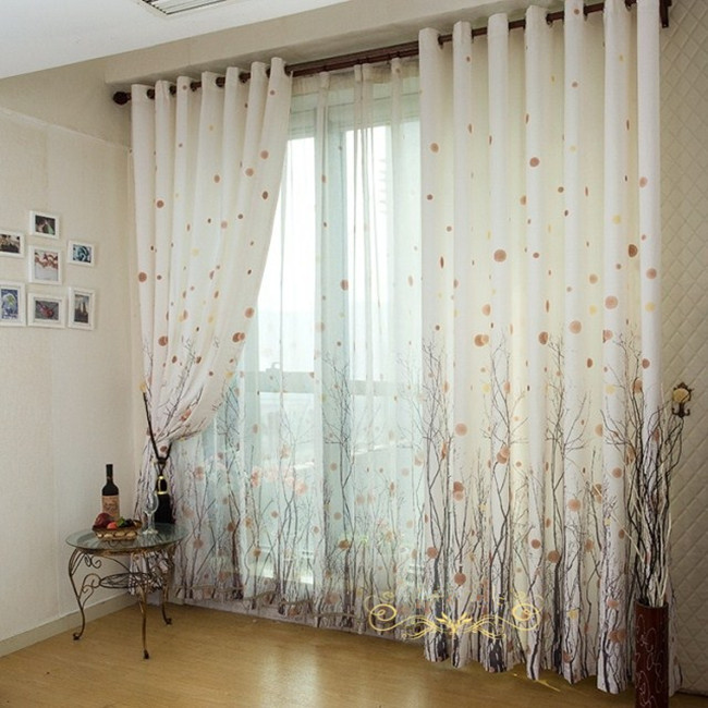 Printed window curtains tree of life simple and modern high-end living room bedroom curtain den pastoral custom thick curtains(China (Mainland))