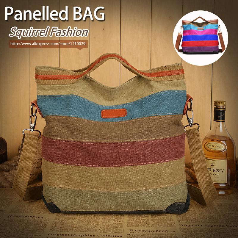 Squirrel fashion panelled color women Messenger Bags vogue Canvas patchwork bolsas Shopping Handbag Casual Tote Shoulder Bag(China (Mainland))
